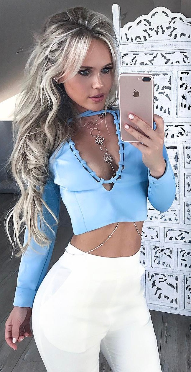 blue and white trends / top + pants