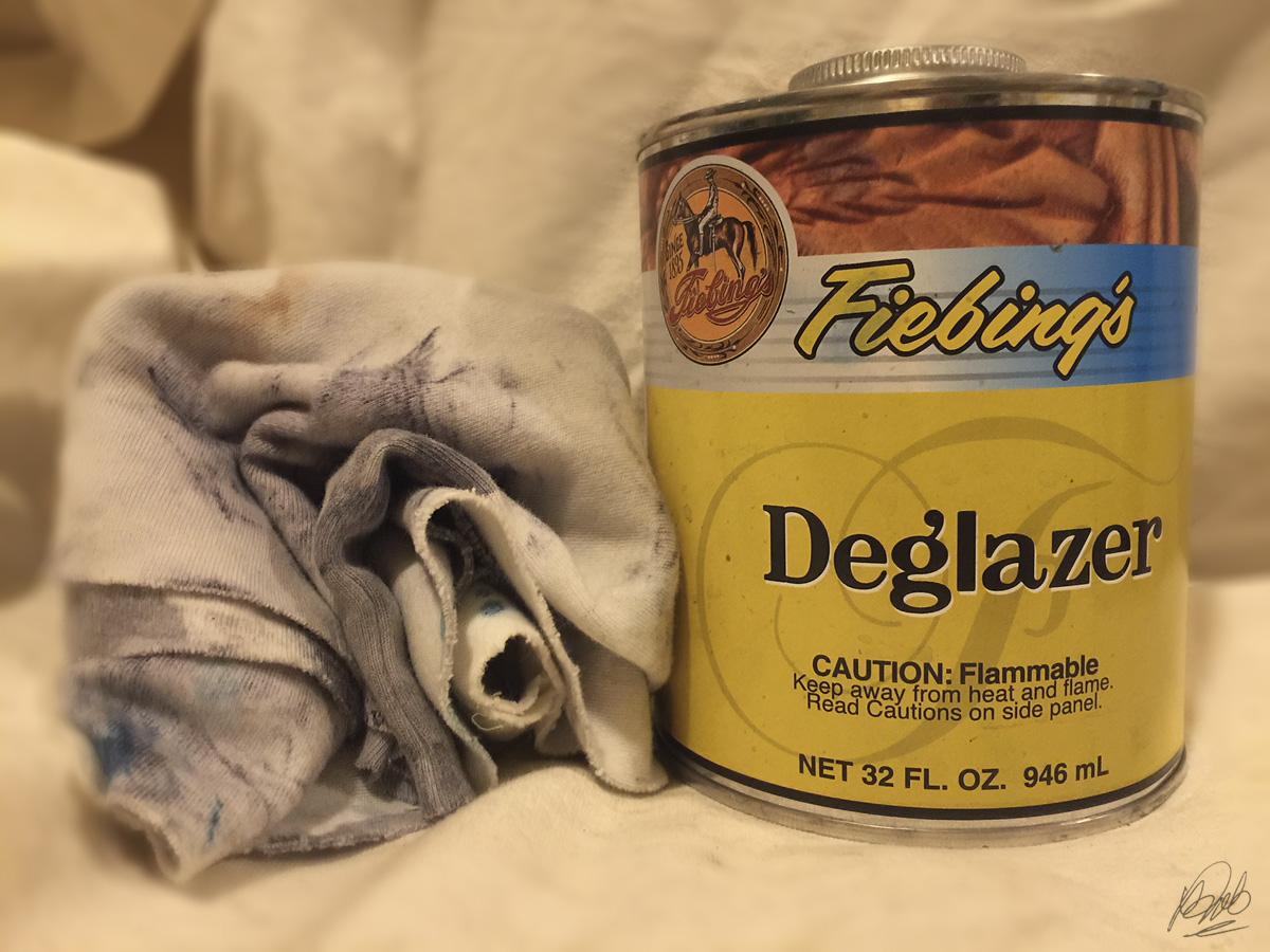 Fiebing's Deglazer with natural cotton rag