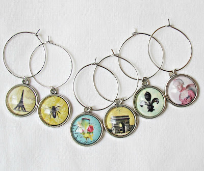 french-inspired wine glass charms eiffel tower arc de triomphe vintage domum vindemia earrings