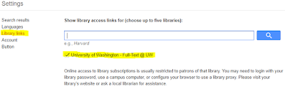 "Under Settings, Library links is selected and ""University of Washington- Full-Text @UW"" is saved"