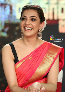 Kajal Agarwal in Red Saree Sleeveless Blouse Stunning Pics  Exclusive Galleries 003.jpg