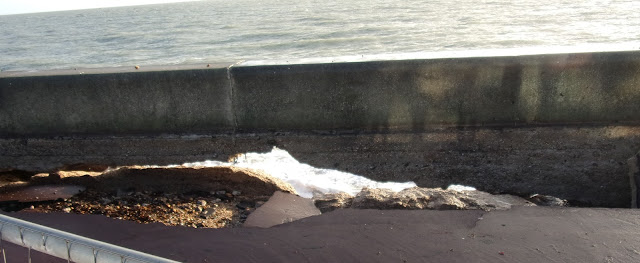 southsea promenade sea wall damage pyraminds centre