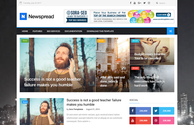 New Spread Blogger Template is a fashionable in addition to highly customizable Blogger topic Free Download New Spread Blogger Template