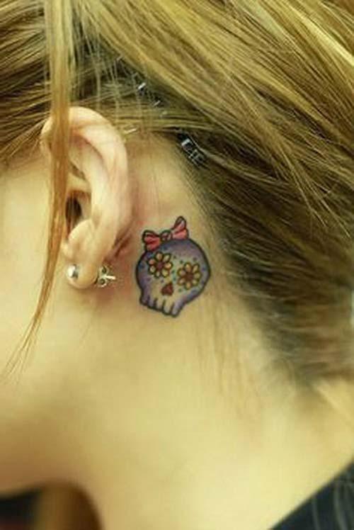 kulak arkası dövmeleri behind ear tattoos 2