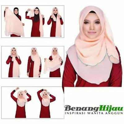 Tutorial Hijab Jilbab Segitiga untuk Wajah atau Muka Bulat