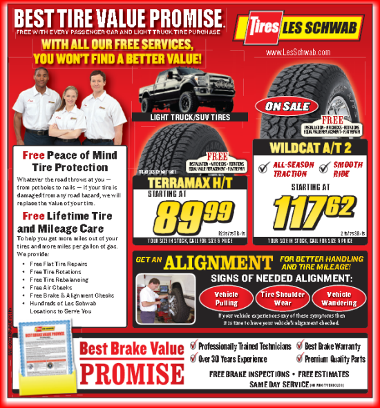 graphic about Les Schwab Brake Coupons Printable titled Les Schwab Tire Coupon codes and Rebates September 2019