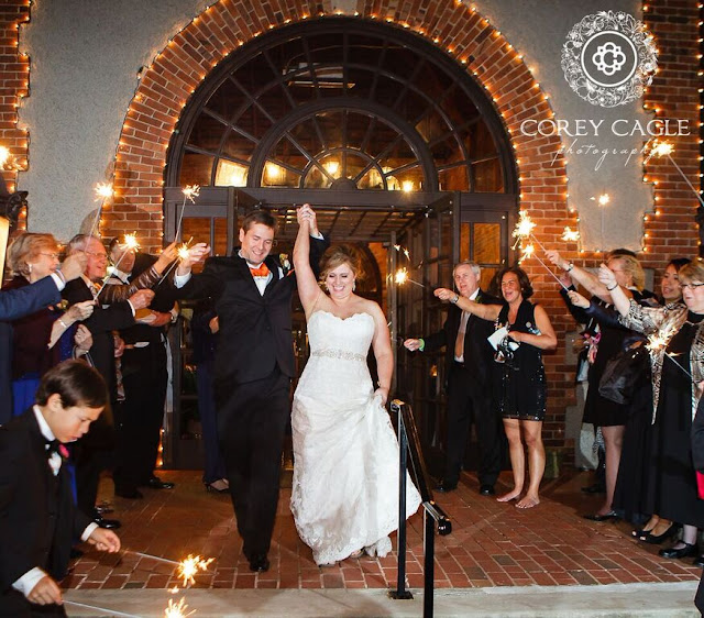 bride and groom sparkler exit | Corey Cagle Photography