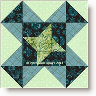 Pinwheel Star quilt block - copyright W. Russell, patchworksquare.com