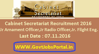 Cabinet Secretariat Recruitment 2016 for Various Posts Apply Here
