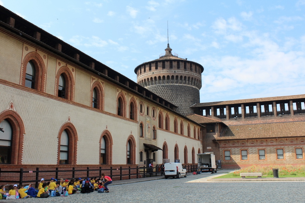 Detailed walls of Castello Sforzesco in Milan