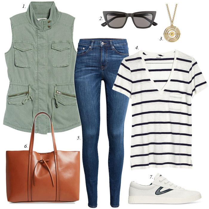 spring outfit, skinny jeans, madewell striped v-neck tee, khaki utility field vest