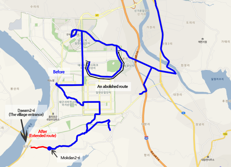A changed route of Dalseong7 bus