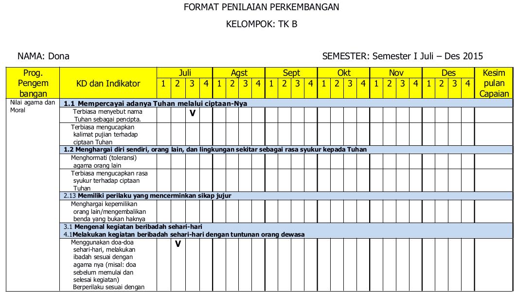 Contoh Format Penilaian Bulanan Paud Kurikulum 2013 Paud Jateng
