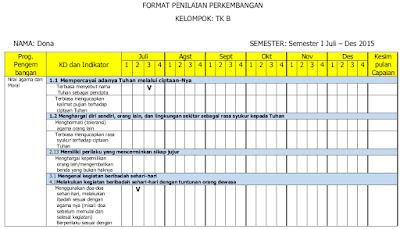 Contoh Format Penilaian Bulanan PAUD Kurikulum 2013