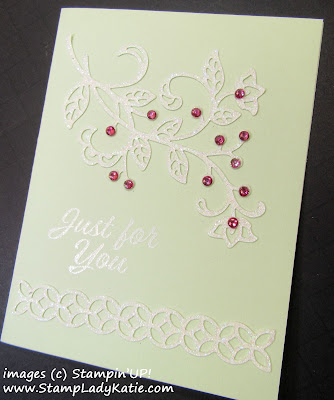 Card made with Stampin'UP!'s Flourish Thinlits on white glimmer paper by StampLadyKatie
