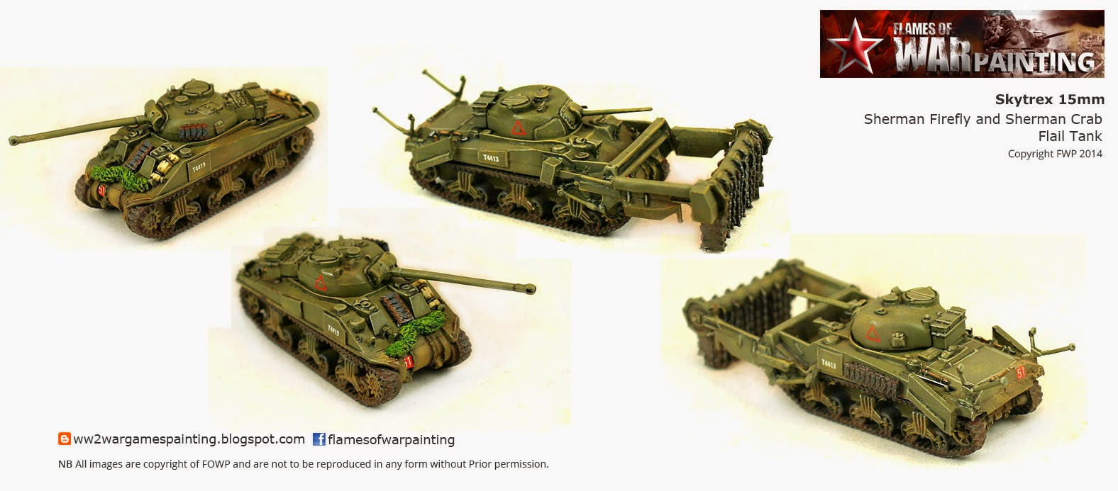 WW2 British Sherman Firefly and Sherman Flail Tank: SkyTrex 15mm