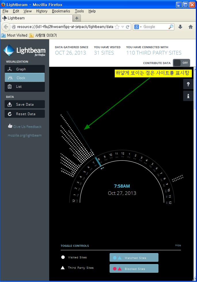 모질라 파이어폭스 애드온 라이트빔- 시간대별로 보기(Clock)