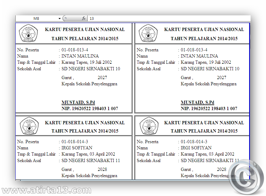 Aplikasi Cetak kartu Ujian Nasional SD/MI tahun 2015