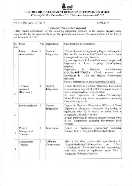 Temporary 8 posts in C-DIT, Thiruvananthapuram