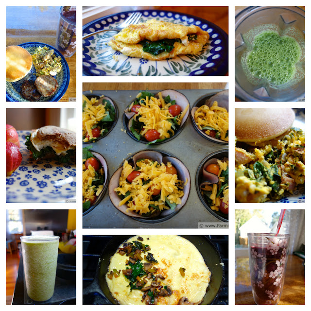 collage of breakfast dishes incorporating vegetables and fruits