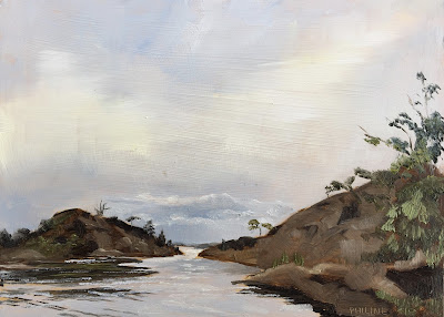 Hasselkobben island, plein air oil painting on panel 13x18cm by Philine van der Vegte