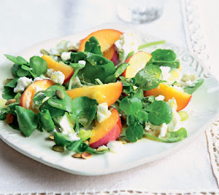 peach, feta and watercress salad recipe