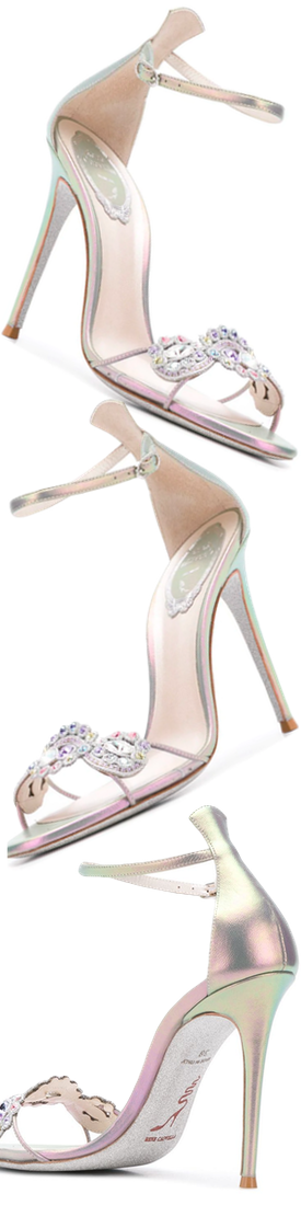 RENÉ CAOVILLA Embellished Stiletto Sandals