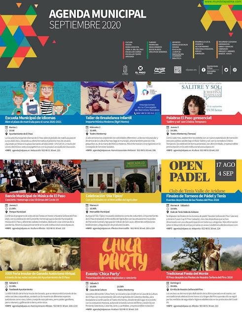 Agenda municipal del mes de septiembre 2020 de El Paso