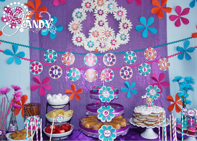 peace party backdrop idea, daisy garland