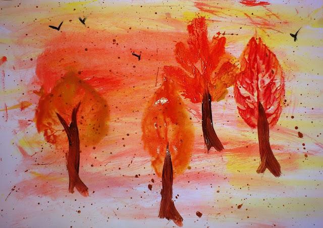 Tablou de toamnă - pictură prin imprimare