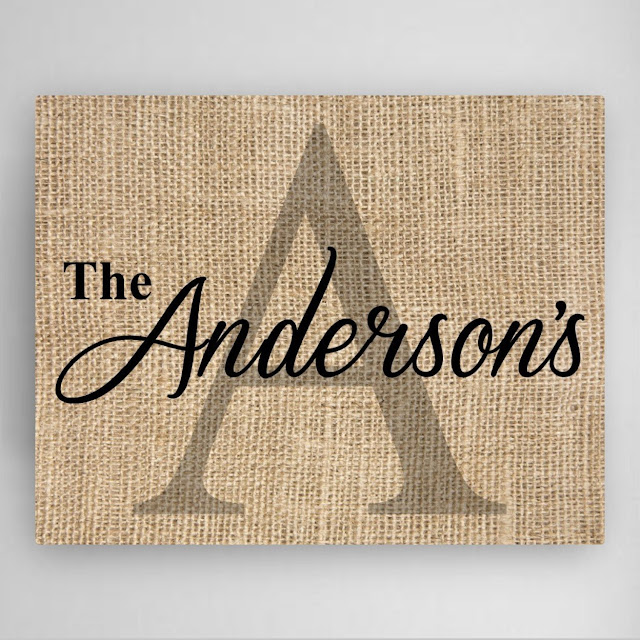 Initial and Family Name Canvas Wrap Burlap Look Sign