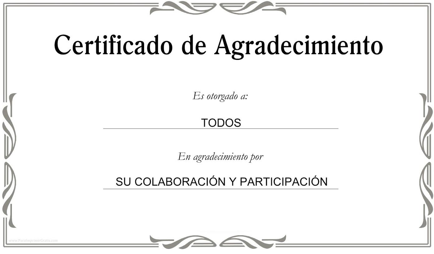 Certificados De Agradecimiento En Blanco