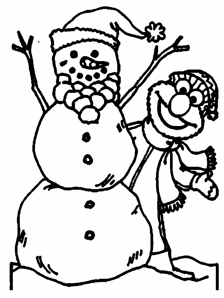Free coloring pages elmo - Elmo And Snowman Christmas Coloring Pages
