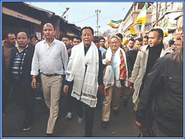 GJM supporters had gathered at the Bagdogra to receive Amar Singh Rai