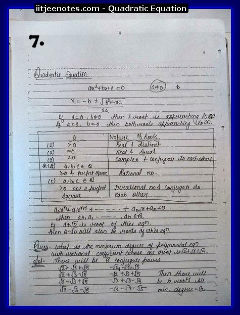 Quadratic Equation Notes-Maths6