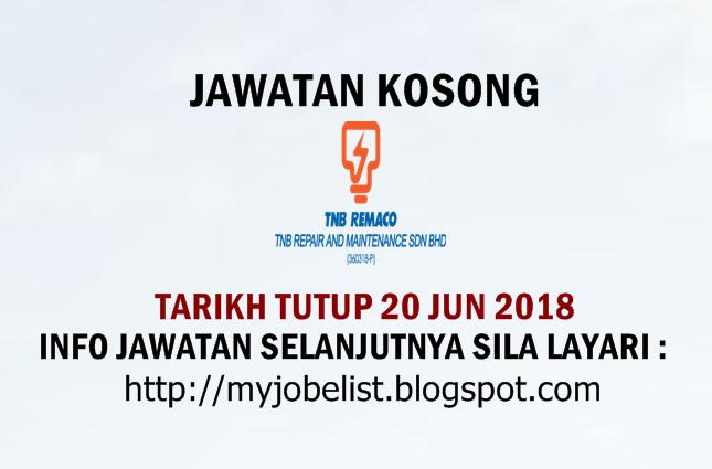 Jawatan Kosong di TNB Remaco Jun 2018