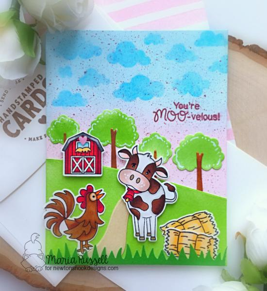 Farm Card by Maria Russell | Moo and Cluck Stamp Sets and Land Borders Die Set by Newton's Nook Designs #newtonsnook #handmade
