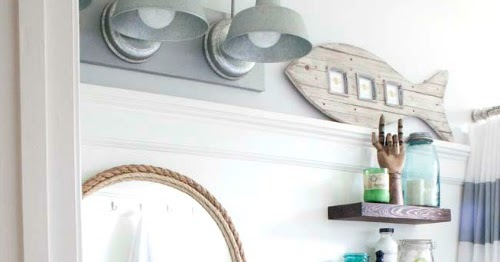 Small Nautical Wall Decor : Small nautical bathroom makeover with tons of diy ideas