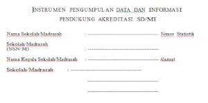 Contoh Instrumen pengumpulan data dan informasi pendukung akreditasi sekolah SD/MI