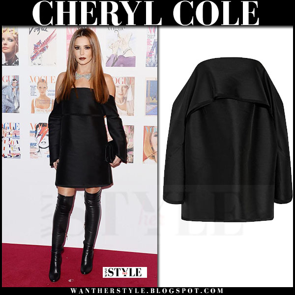 Cheryl Cole in black off shoulder dion lee mini dress and black jimmy choo toni boots what she wore red carpet