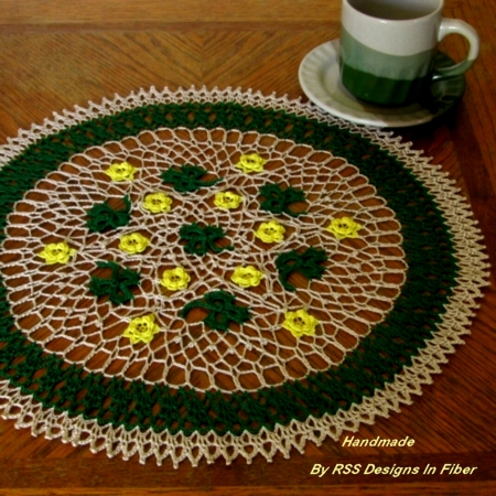 Green Shamrock Doily with Yellow Roses - As In Nature - Handmade By RSS Designs In Fiber