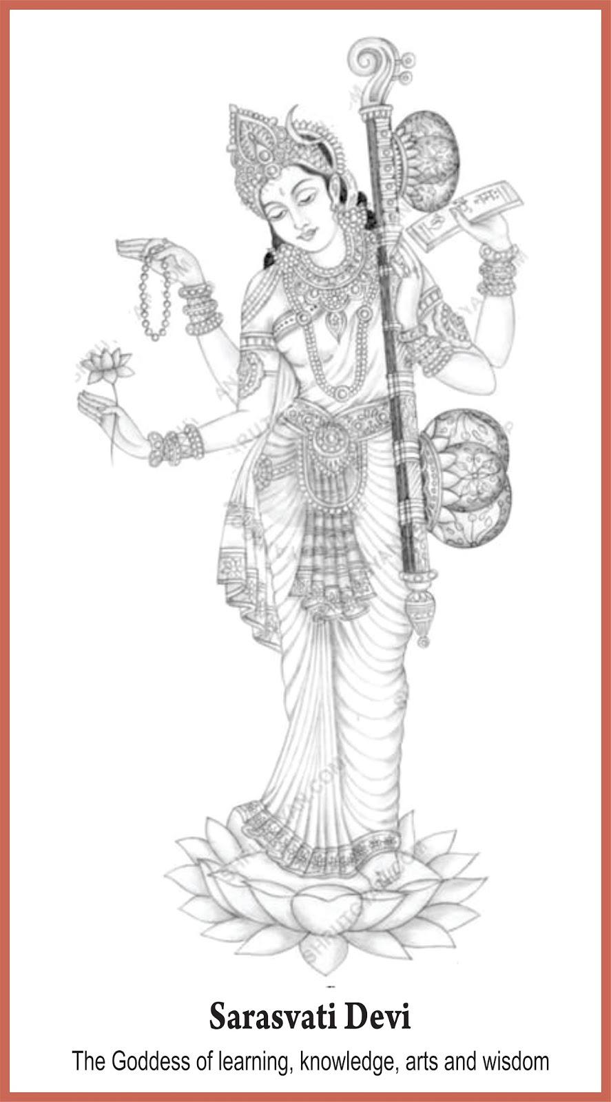 20 Inspirasi Sketsa Dewi Saraswati The Toosh