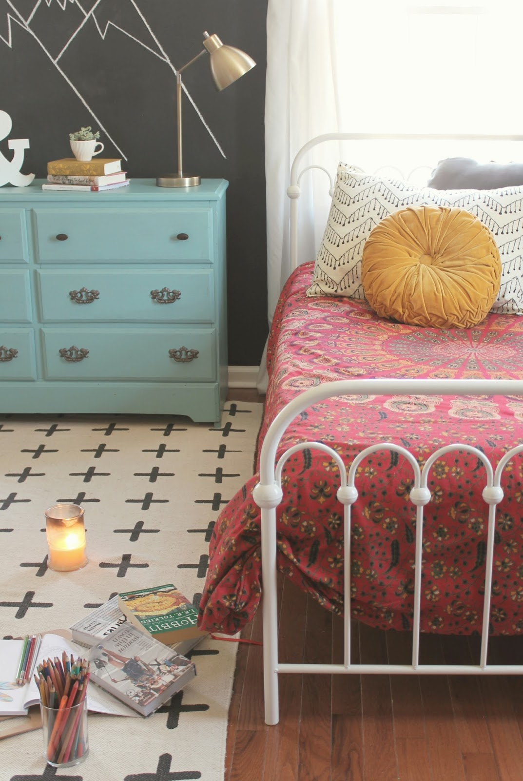 The little farm diary teen girls 39 room reveal a boho for Cheap teenage bedroom ideas