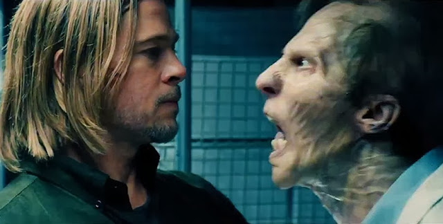 Brad Pitt şi un Zombi în filmul World War Z