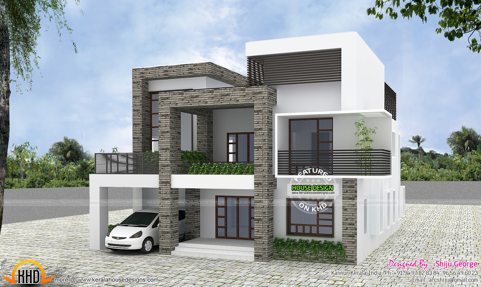 Front Car Porch Elevation : Contemporary house by shiju george kerala home design