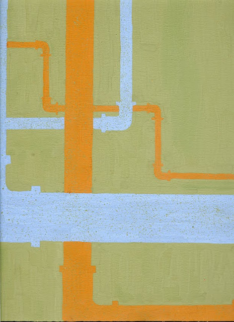 Green background with 4 pipes from close to far away alternating orange and light blue