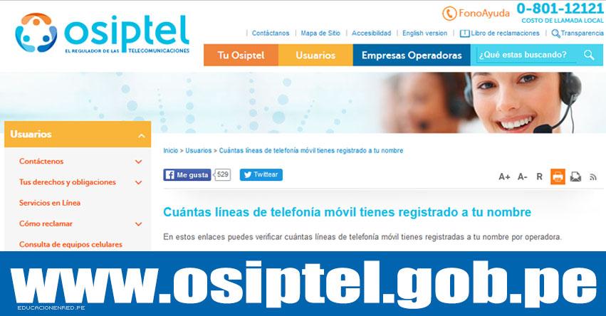 OSIPTEL: conoce cuantas líneas telefónicas está a tu nombre - www.osiptel.gob.pe