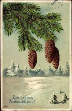 Vintage German Xmas card image with snow and pinecones, ein frohes Weihnachtsfest