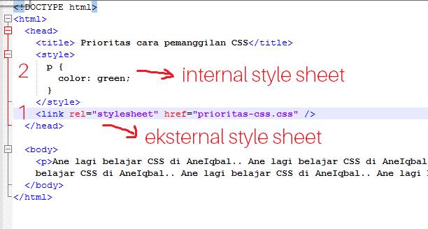 prioritas cara pemanggilan kode css