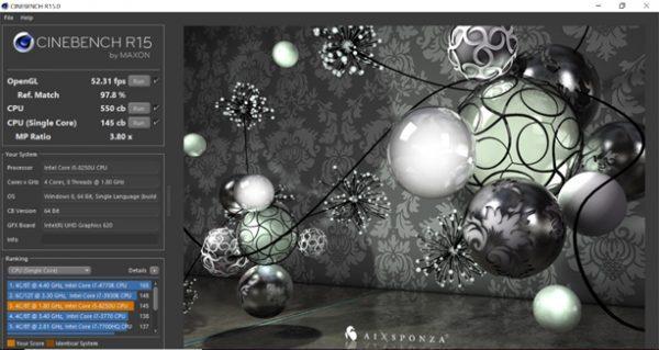 hasil uji kemampuan processor pada Zenbook UX331UAL